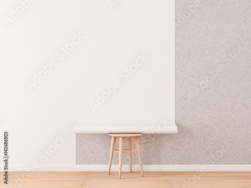 Empty room with White Blank Roll of wallpaper Mockup lies on a chair, 3d rendering - 143686803