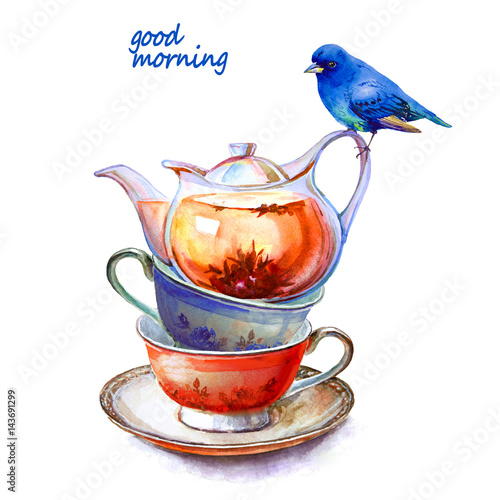 Party colorful tea cups and saucers with blue bird closeup. Sketch handmade. Postcard for Valentine's Day. Watercolor illustration. - 143691299