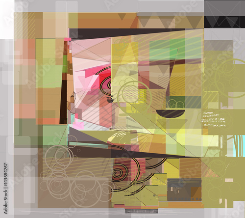 Plakat cubism with table