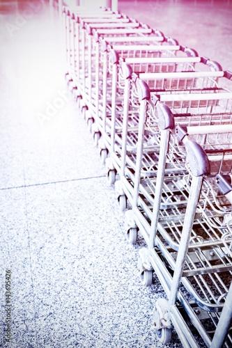 Trolleys at supermarket