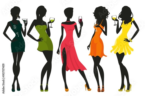 Women in evening dress with drinks in their hands