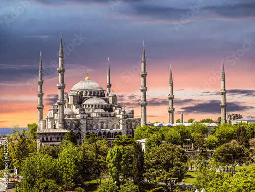 Blue mosque at sunset (Sultanahmet), Istanbul, Turkey Poster