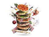 Pizza with different tastes with vegetables, cooking - 143717616