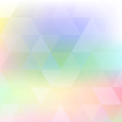 Blurred pastel color background with triangles. Vector pattern