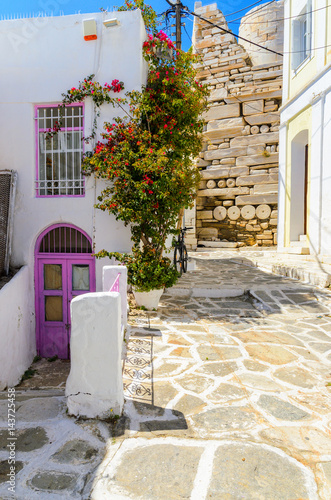 Traditional greek houses with spring flowers on Paros island. Cyclades. Greece.