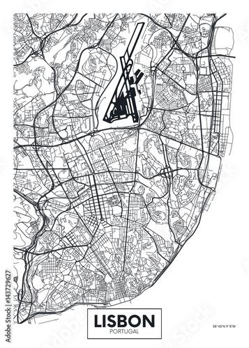 Vector poster map city Lisbon