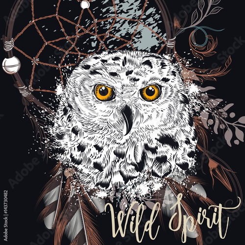 Foto op Aluminium Uilen cartoon Fashion boho Illustration with dreamcatcher and owl. Wild spirit
