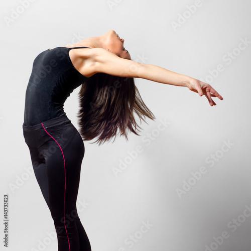 Plexiglas Young ballet dancer dancing and exercising