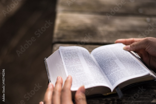 Reading the Word of God the Bible the Holy Book Poster