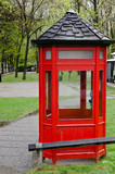 English style retro telephone booth. Arrowtown, New Zealand. - 143741474