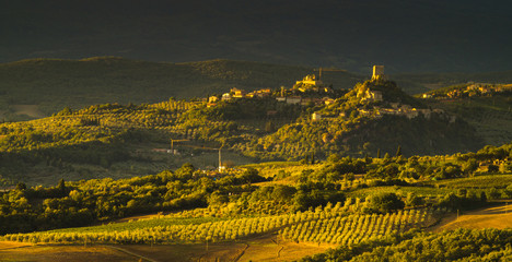 Autumn landscape of the most picturesque part of Tuscany, val d'orcia valley