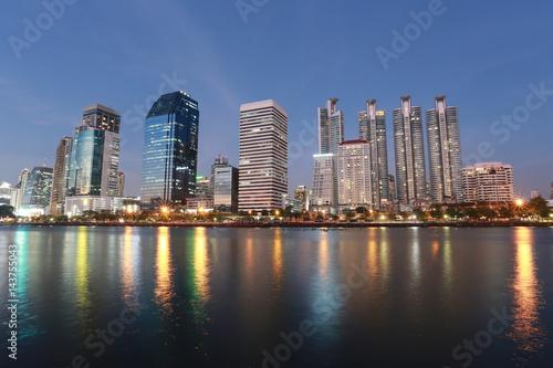 Skyscraper city in downtown of Benjakitti Park at Bangkok Thailand.