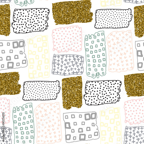 Vector seamless pattern with hand drawn gold glitter textured brush strokes - 143756215