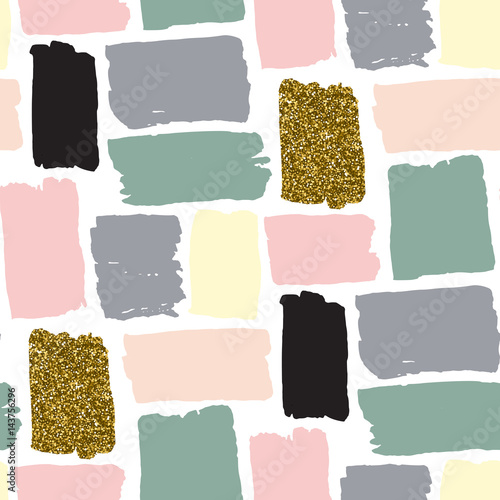 Vector seamless pattern with hand drawn gold glitter strokes - 143756296