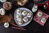 Group of panda cakes on plate top view
