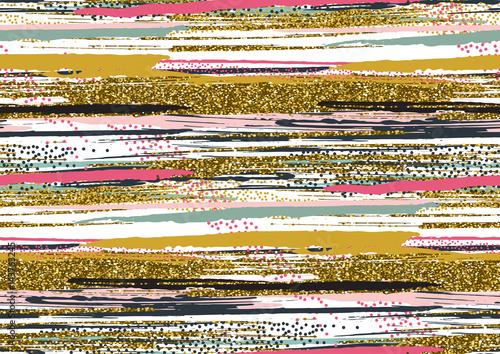 Vector seamless pattern with hand drawn gold glitter textured brush strokes - 143763245