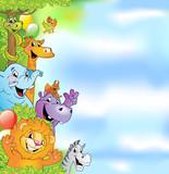 Fototapeta Pokój dzieciecy - Cartoon animals, cheerful background © azzzya