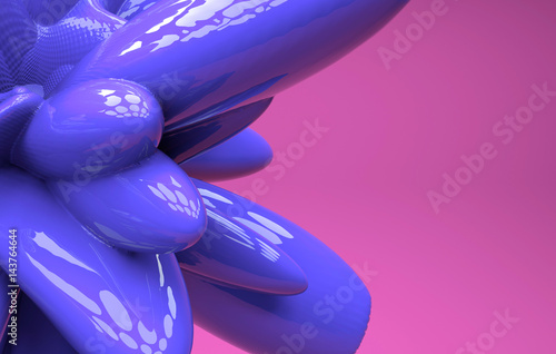 Computer generated geometric illustration. 3D rendering . Colored 3d abstraction.