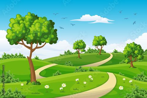 Ilustracja lato krajobraz z drzewami
