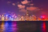 Night panorama of the city of hong kong