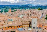 view of the medieval town of Siena in Tuscany Italy