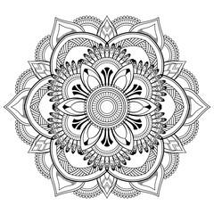 Flower Mandala motifs. Vintage decorative elements. Oriental pattern, vector illustration. Coloring book page