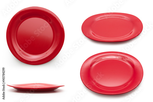 collection of empty red plate on the white