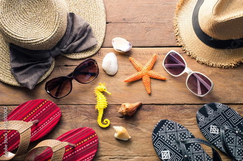 Poster Clothing and accessories for men and women ready for travel - life style with su