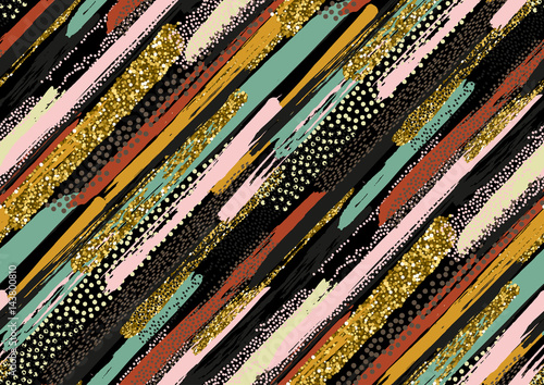 Vector seamless pattern with hand drawn gold glitter textured brush strokes - 143800810