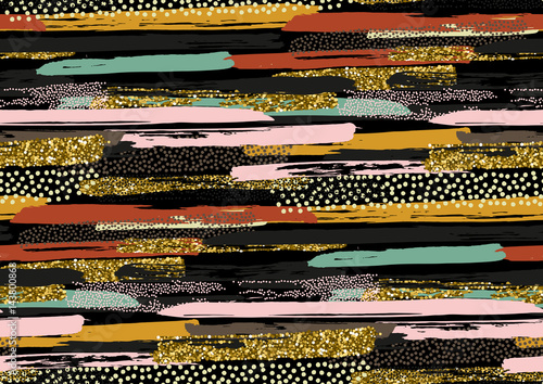 Vector seamless pattern with hand drawn gold glitter textured brush strokes - 143800868