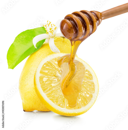dripping honey on lemons isolated on a white background Poster