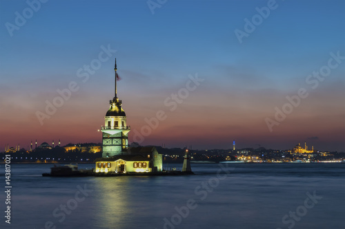 Night photo Maiden Tower, Istanbul, Turkey Poster
