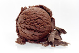 Scoop of Rich Chocolate Ice Cream with Shavings - 143817299