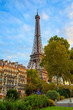 Beautiful Eiffel tower view from the city in Paris. Scene from the park with many trees and buildings in front of it.