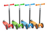 set of colored kick scooters, 3D rendering