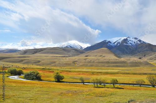 Deurstickers Honing Landscape of Kyrgystan around Son Kul lake