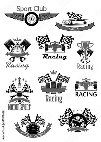 Foto op Plexiglas F1 Car or sport motor racing club vector icons set