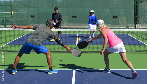 Fotobehang Voetbal Pickleball Action - Mixed Doubles