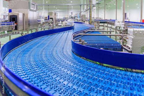 Empty conveyor belt of production line, part of industrial equipment Poster
