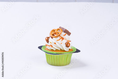 Poster With custard over white background