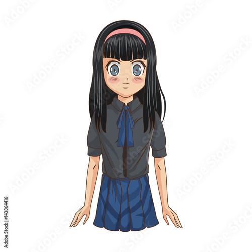 anime girl icon over white background. colorful design. vector illustration - 143864416