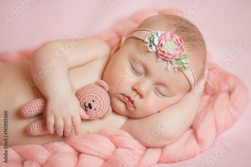 Poster cute baby girl sleeping