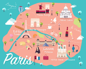 Map Of Paris Attractions Vector And Illustration.