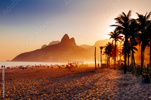 Ipanema beach in Rio de Janeiro on a gorgeous sunset Poster