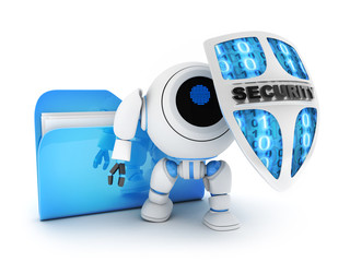 Files and Robot with shield