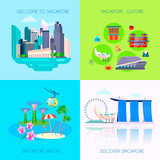 Flat Singapore Culture Icon Set