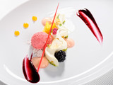 Fine dining dessert, Raspberry Parfait, ice cream, white chocolate mousse and spices - 143888411