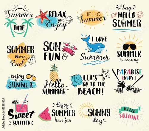 Summer labels, logos, hand drawn tags and elements set for summer holiday, travel, beach vacation, sun. Vector illustration.  - 143891605
