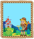 Parchment with scout girl theme 4