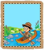 Parchment with water scout boy